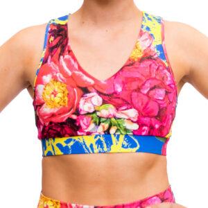 blooming in peony sports bra