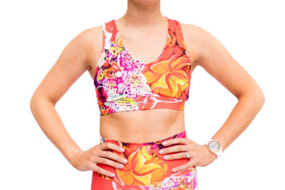 blooming in orchid sports bra